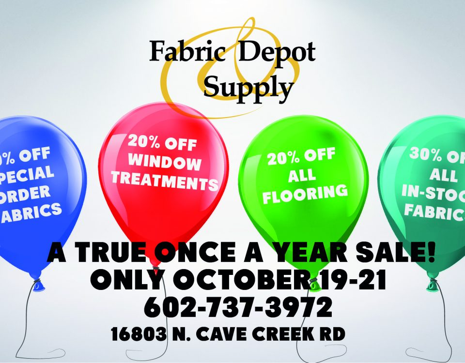 Annual Sale, October 19th-21st at Fabric Depot & Supply